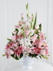 Pink Rose, Lily and Gladioli Service Arrangement